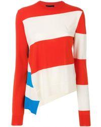 CALVIN KLEIN 205W39NYC - Asymmetrical Striped Sweater - Lyst