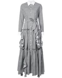Sara Battaglia - Gingham Ruffled Maxi Dress - Lyst