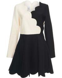 Valentino - White And Black Scalloped Mini Dress - Lyst