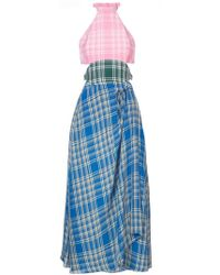 Rosie Assoulin - Crinkled Plaid Halter Dress - Lyst
