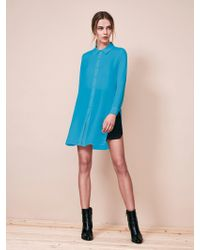 Krisa - Tunic Button Front Shirt - Lyst