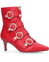 Carvela Kurt Geiger - Sparky Red Leather Kitten Heeled Ankle Boots - Lyst