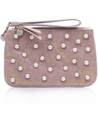 Nine West - Top Zip Wristlet Pouch In Pale Pink/leather Other - Lyst