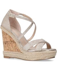 f54c99d750a Carvela Kurt Geiger - Metallic  sublime  Gold High Heel Wedge Sandals - Lyst
