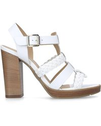 8e7942a8dfd Dune Gold Leather  madisonn  High Platform Ankle Strap Sandals in ...