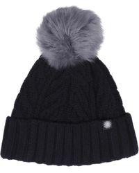 UGG - Cuff Hat Fur Pom In Black - Lyst