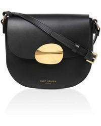 Kurt Geiger - 690-petal Sm Saddle Bag-black-leather - Lyst