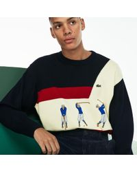 ef0af03fee3600 Lacoste - Fashion Show Crew Neck Embroidered Wool Knit Sweater - Lyst