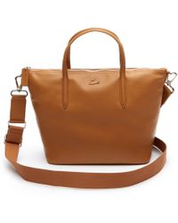 Lacoste - L.12.12 Leather Zip Tote - Lyst