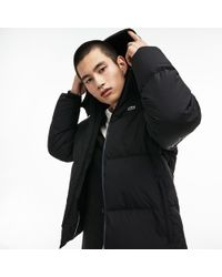 Lacoste - Detachable Hood Quilted Water-resistant Taffeta Jacket - Lyst