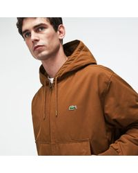 Lacoste - Short Hooded Zippered Quilted Cotton Twill Jacket - Lyst