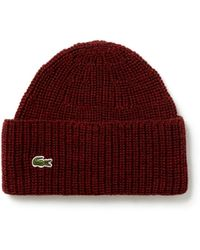d94c5da63e56d Lyst - Lacoste Unisex Live Turned Edge Ribbed Wool Beanie in Natural ...