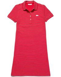 0ab09fb44a52 Lacoste - Slim Fit Striped Stretch Mini Cotton Piqué Polo Dress - Lyst