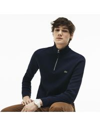 Lacoste - Flat Ribbed Zippered Stand-up Collar Sweatshirt - Lyst