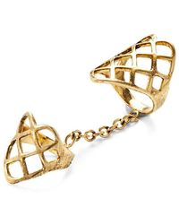 Lady Grey - Double Lattice Ring In Gold - Lyst