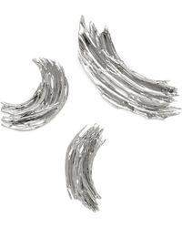 Lady Grey - Brushstroke Pin Set In Rhodium - Lyst