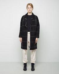 Band of Outsiders - Windowpane Blanket Wool Shawl Collar Coat - Lyst