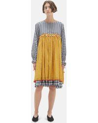 Péro - Checkered Tassel Yoke Dress - Lyst