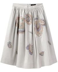 SUNO - Embroidered Peacock Skirt - Lyst
