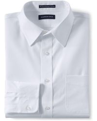 Lands' End - Tailored Fit Easy-iron Straight Collar Pinpoint Shirt - Lyst