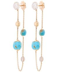 Roberto Coin - Diamond Turquoise Chain Drop Earrings - Lyst