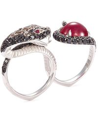 Stephen Webster - 'burma' Diamond Ruby 18k White Gold Snake Two Finger Ring - Lyst
