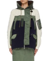4bb671d0180da Sacai Beige And Khaki Patchwork Glencheck And Camo Jacket in Natural - Lyst