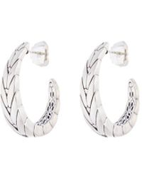 John Hardy - Silver Weave Effect Medium J Hoop Earrings - Lyst
