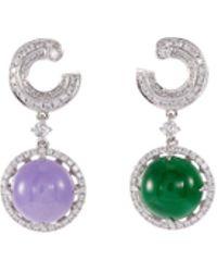 LC COLLECTION - Diamond Jade 18k White Gold Asymmetric Drop Earrings - Lyst