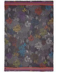 Franco Ferrari - Floral Polka Dot Wool-silk Scarf - Lyst
