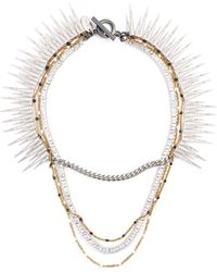 Venna - Glass Crystal Multi Chain Tiered Necklace - Lyst