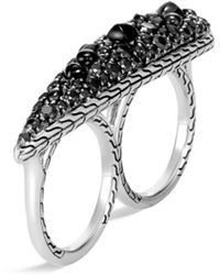 John Hardy - 'classic Chain' Sapphire Spinel Silver Two Finger Ring - Lyst