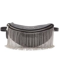 Miu Miu Glass Crystal Fringe Leather Bum Bag