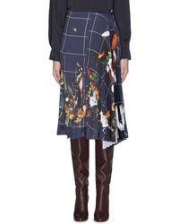 Cedric Charlier Grid Graphic Print Pleated Drape Midi Skirt - Blue