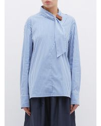 Tibi - 'kaia' Buckled Sash Collar Stripe Shirt - Lyst
