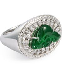 LC COLLECTION - Diamond Jade18k White Gold Cutout Ring - Lyst