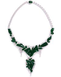 LC COLLECTION | Diamond Jade 18k Gold Floral Pendant Necklace | Lyst