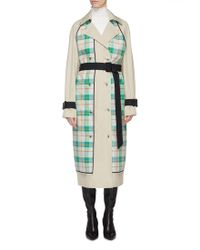 Tibi - 'hani' Detachable Tartan Plaid Panel Belted Trench Coat - Lyst