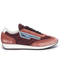 804d0e13ce7 Prada -  mln70  Logo Patch Suede Panel Sneakers - Lyst