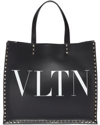 Valentino - Vltn Logo Embellished Leather Tote Bag - Lyst
