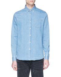 Denham - Chest Pocket Washed Denim Shirt - Lyst