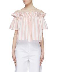 Xiao Li - Stripe Ruffle Off-shoulder Top - Lyst