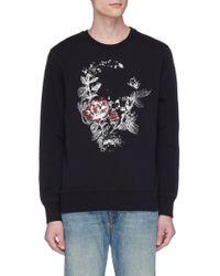 Alexander McQueen - Metallic Rose Skull Print Sweatshirt - Lyst