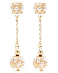 Kenneth Jay Lane - Glass Pearl Cluster Ball Drop Earrings - Lyst