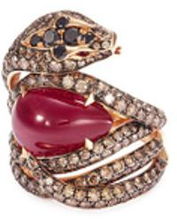Stephen Webster | Diamond Ruby 18k Rose Gold Snake Ring | Lyst