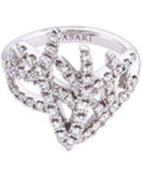 Tasaki - 'coral' Diamond 18k White Gold Ring - Lyst