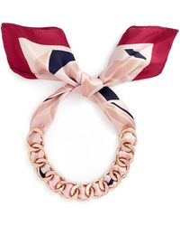 W. Britt - Curb Chain Bird Print Silk Scarf Tie Necklace - Lyst