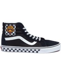 Vans - 'sk8-hi' Tiger Checkerboard Patch Suede Panel Canvas Trainers - Lyst