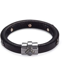 Shamballa Jewels - 'korne' Diamond Rhodium 18k Gold Leather Bracelet - Lyst