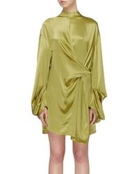 Solace London - 'cecilia' Twist Front Silk Dress - Lyst
